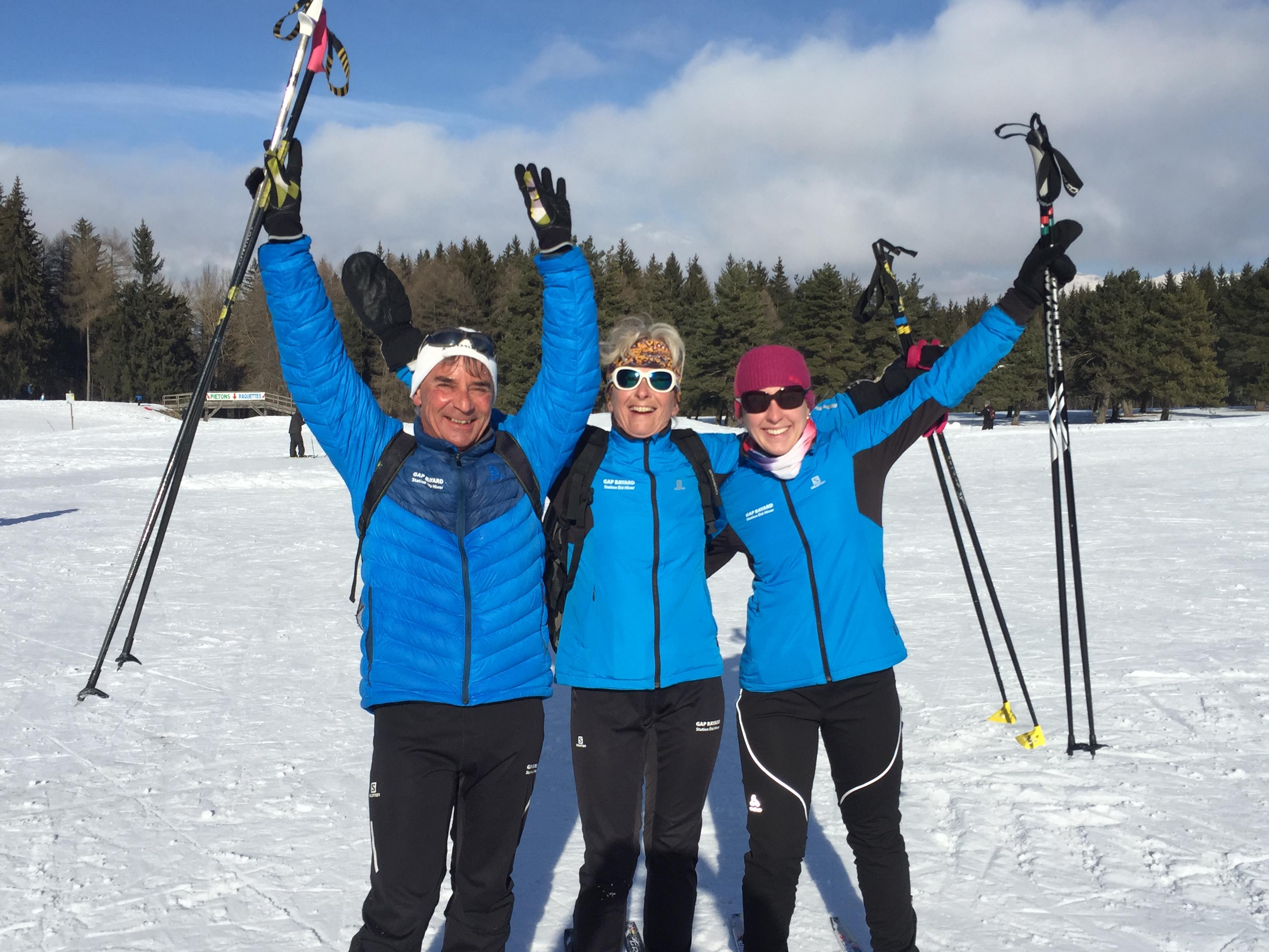 Christian , Edith & Lise, les moniteurs de ski de fond de bayard