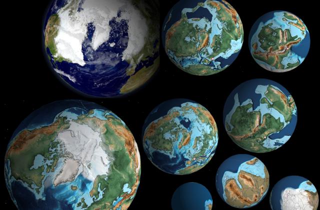 La terre à différentes périodes sur 750 Millions d'années